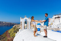 Couple in love on Santorini royalty free stock images