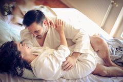 Couple in love. Sensuality. Family time stock images