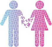 Couple love separation people puzzle Stock Photo