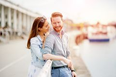 Couple in love in beautiful sunset stock photography