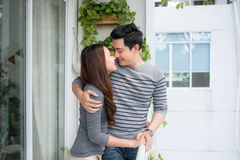 Couple in love sharing genuine emotions and happiness, hugging o Stock Photo