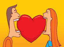 Couple in love sharing a heart Royalty Free Stock Image
