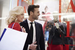 Couple in love during the shopping Stock Images