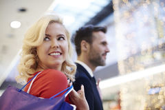 Couple in love during the shopping Stock Photography