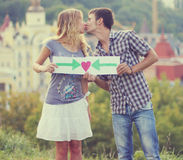 Couple and love sign Stock Photography