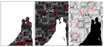Couple in love. Couple silhouette on love background Stock Photo