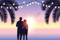 Couple in love silhouette romantic day on paradise beach stock illustration