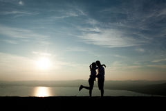 Couple in love silhouette Stock Photo