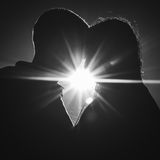 Couple in Love Silhouettes Close Up Royalty Free Stock Images