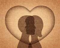 Couple in love silhouettes Stock Photos