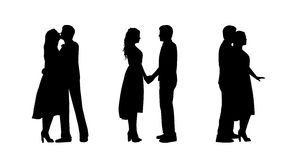 Couple in love silhouettes set 1 Stock Image