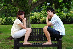 Couple in Love sitting on bench 3 Stock Photo