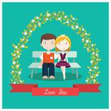 Couple in love sitting on the bench under the tree - flat style vector illustration Royalty Free Stock Image