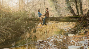 Couple in love sitting on tree trunk in forest Stock Photography