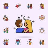 couple, love, sky, night icon. Universal set of love story for website design and development, app development vector illustration