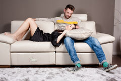A couple in love on the sofa Royalty Free Stock Image