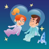 Couple in love in space. A couple in love, man and woman astronauts in space on the background of hearts next to them a space ship vector illustration