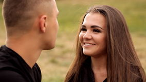 Couple in love spend time together in nature stock video footage