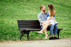 Couple in love spending time in nature stock images