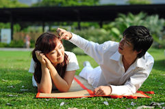 Couple in Love spending time in the park 2 Royalty Free Stock Image