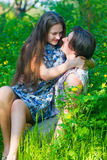 Happy Young two lovers having fun Outdoor Stock Image