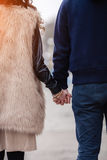 Couple in love on spring. Couple in love walking around the city and the river Royalty Free Stock Photography
