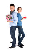 Couple in Love Standing Back to Back Royalty Free Stock Photography