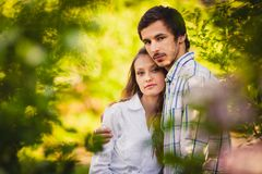 Couple in love standing at summer park Royalty Free Stock Photography