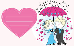 Couple in love standing under an umbrella in the rain, Royalty Free Stock Photography