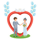 Couple in love stands near arch, wedding of young people. Royalty Free Stock Image