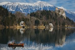 Couple love story on Bled lake, Slovenia stock images