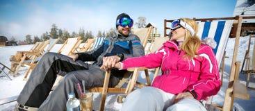 Couple in love sunbathing on mountain Royalty Free Stock Photo