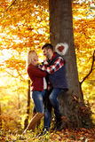 Couple in love on sunny day in the park. Sweet couple in love on sunny day in the park Royalty Free Stock Image