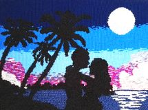 Couple in love on sunset with blue and pink background. Textile made in manual loom of a couple in love. You can see the shadows of the couple along with some Stock Images