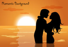 Couple in love at sunset Stock Photo