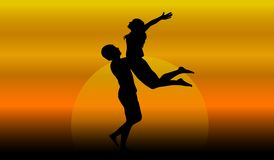 Couple in love at sunset. Illustration Royalty Free Stock Photo