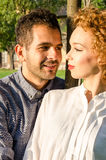 Couple in love at sunset Stock Photography