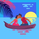 Couple in Love Swims on Purple Canoe and Kisses Royalty Free Stock Photo