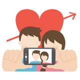 Couple in love taking photo of themselves. Vector illustratioin of a couple in love taking photo of themselves Vector Illustration