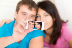 Couple in love taking selfie Royalty Free Stock Photos