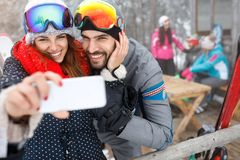 Couple in love taking selfie royalty free stock photography