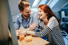 Couple in love talking smiling at home Royalty Free Stock Images