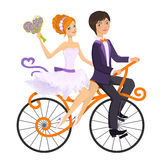 Couple in love on tandem bicycle. Vector illustration Royalty Free Stock Image