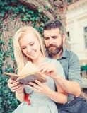 Couple in love, teacher and student reading, royalty free stock photography