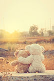 Couple love teddy bears hugging. Couple love teddy bears hugging sitting looking sunrise in the morning vintage style Royalty Free Stock Images