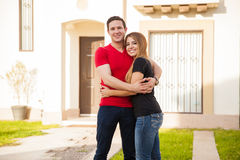 Couple in love in their new home Stock Photography