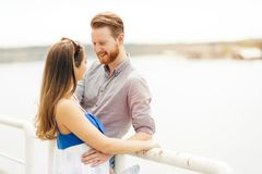 Couple in love about to kiss. Outdoors Stock Images