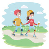 Couple in love to roller skate, vector illustration Royalty Free Stock Photos