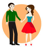 Couple in love, together holding hands, vector illustration Royalty Free Stock Photos