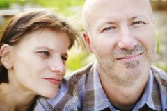 Couple in love together outdoors Royalty Free Stock Photo